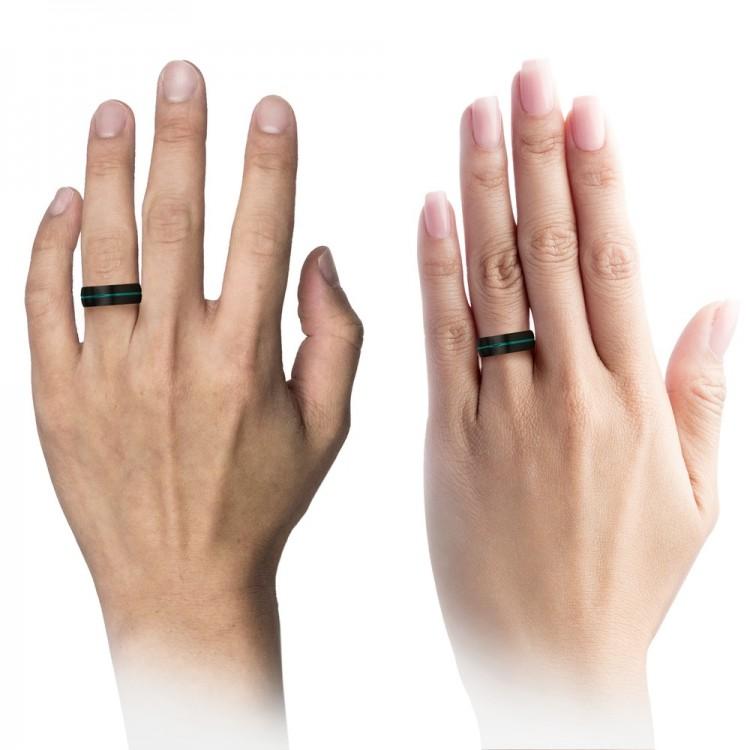 Dark Knight Aqua Teal 8mm Women Wedding Ring