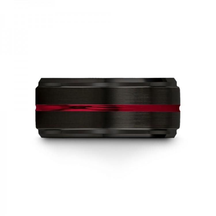 Dark Knight Crimson Allure 10mm fancy Mens Wedding Bands
