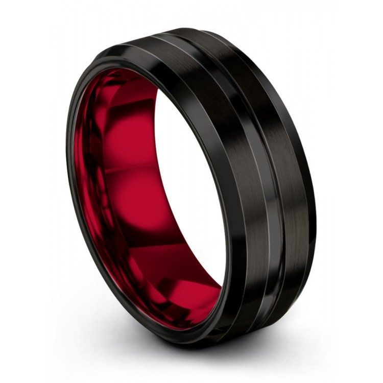 Dark Knight Crimson Allure 8mm Fancy Wedding Band