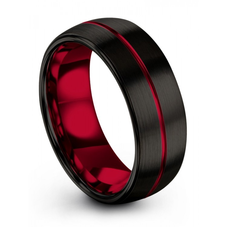 Dark Knight Crimson Allure 8mm Women Wedding Rings