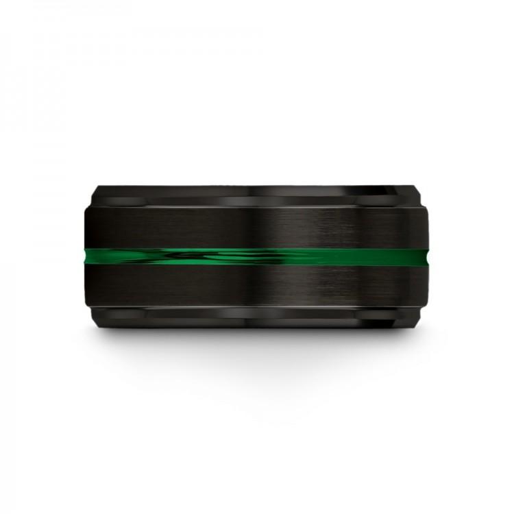 Dark Knight Emerald Zing 10mm fancy Mens Wedding Band