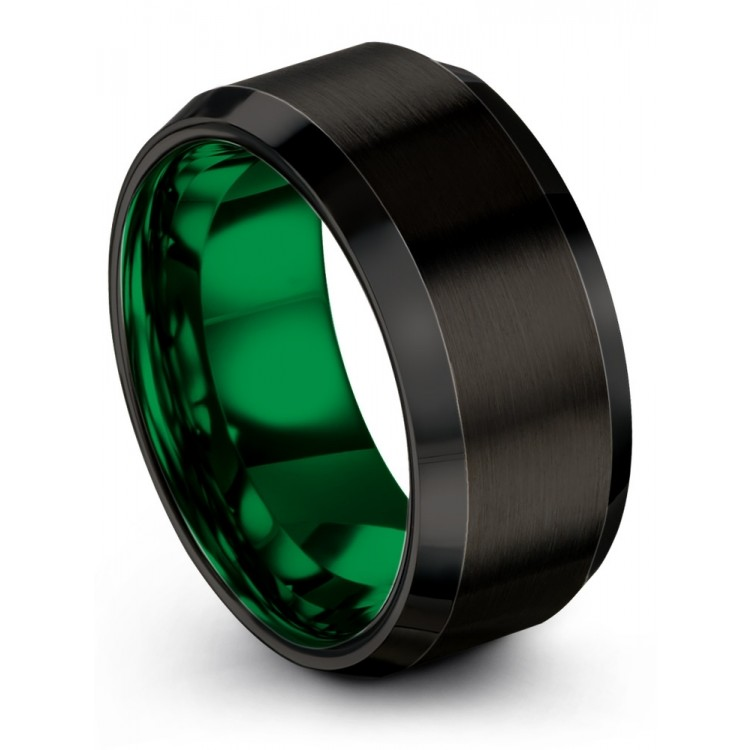 Dark Knight Emerald Zing 10mm Wedding Ring