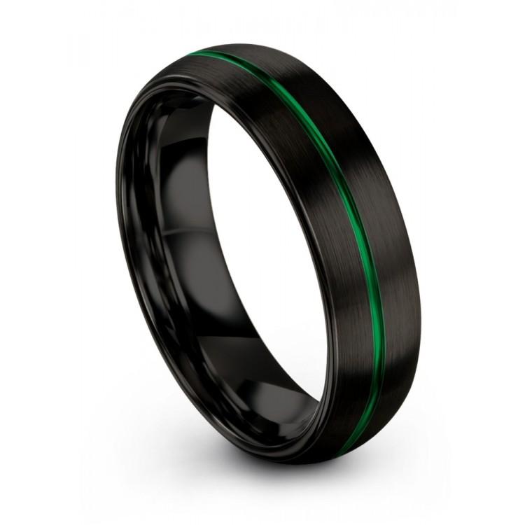 Dark Knight Emerald Zing 6mm Wedding Band