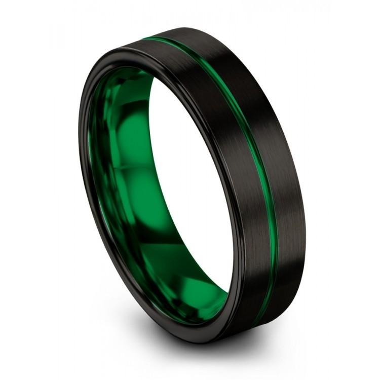Dark Knight Emerald Zing 6mm Wedding Ring
