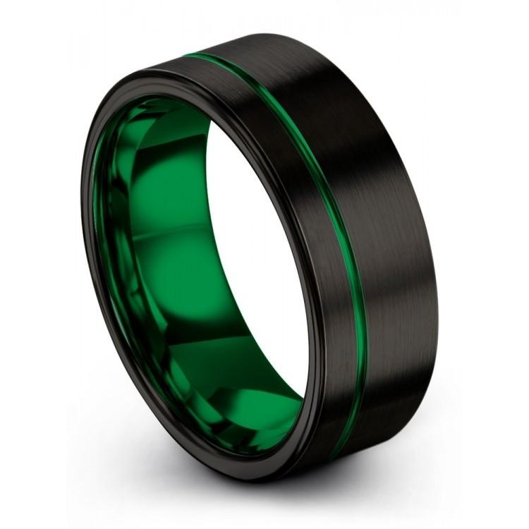 Dark Knight Emerald Zing 8mm Wedding Ring