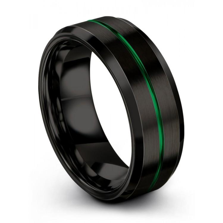 Dark Knight Emerald Zing 8mm Wedding Band