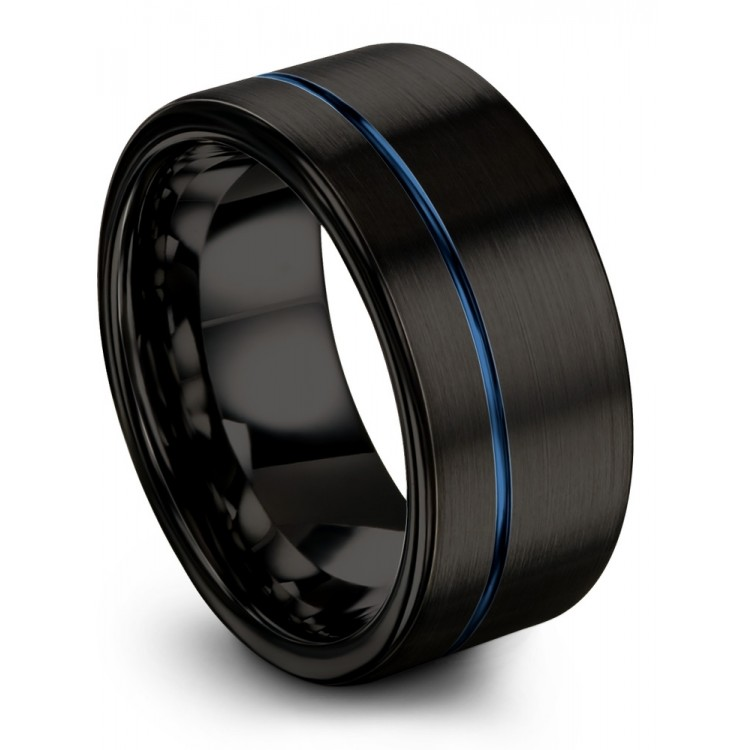 Dark Knight Empire Blue 10mm Black Wedding Ring