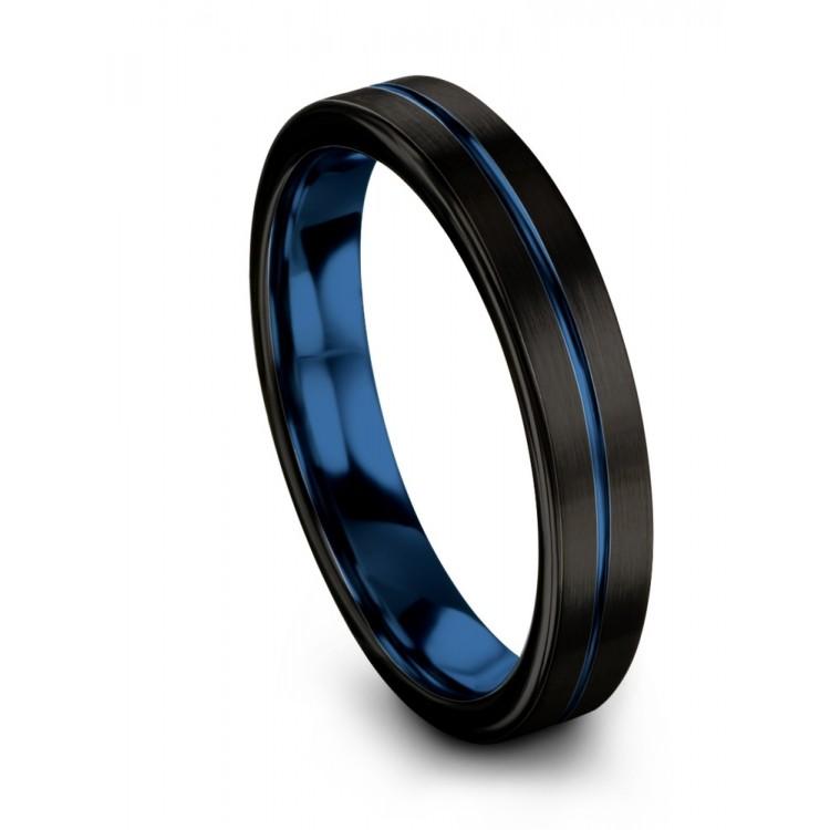 Dark Knight Empire Blue 4mm Black Wedding Ring
