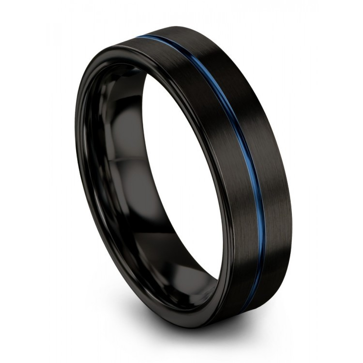 Dark Knight Empire Blue 6mm Black Wedding Ring