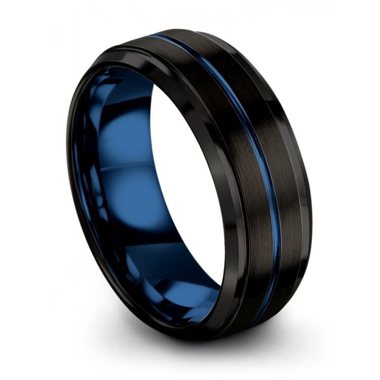 Dark Knight Empire Blue 8mm Fancy Wedding Rings