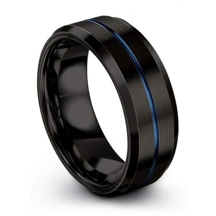Dark Knight Empire Blue 8mm Wedding Ring