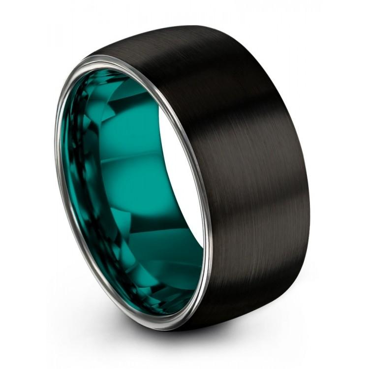 Dark Knight Galena Gray Aqua Teal 10mm Wedding Rings