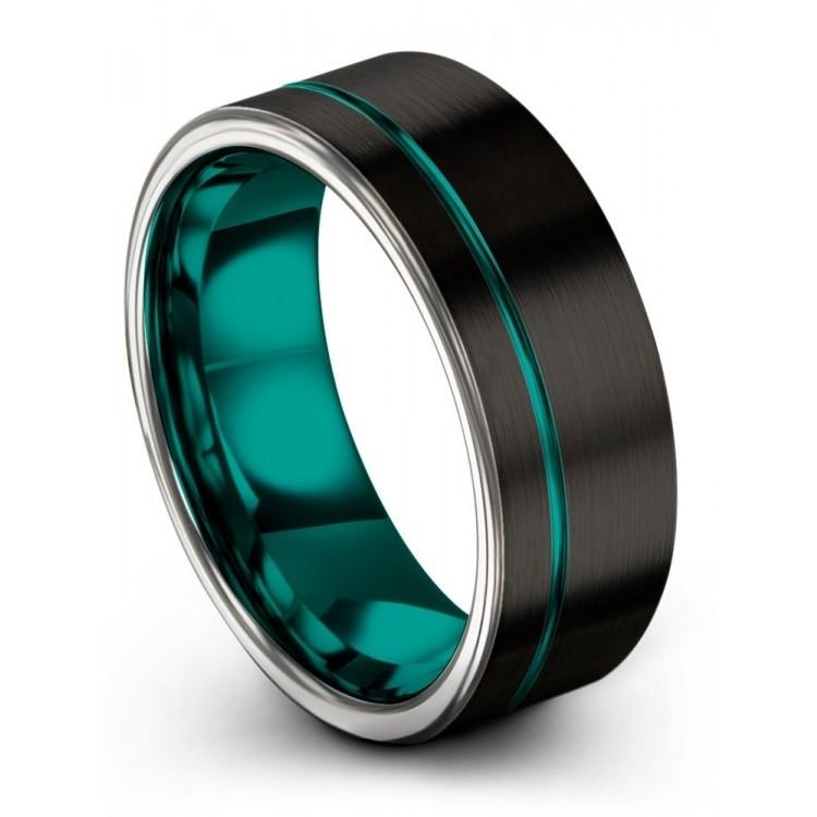 Dark Knight Galena Gray Aqua Teal 8mm Wedding Ring