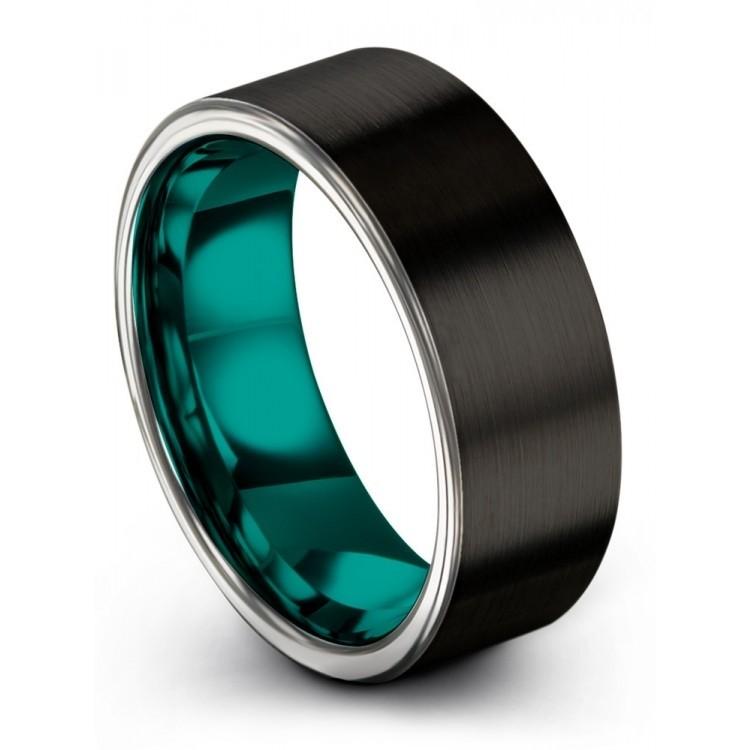 Dark Knight Galena Gray Aqua Teal 8mm Wedding Rings