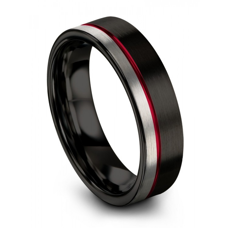 Dark Knight Galena Gray Crimson Allure 6mm Black Wedding Ring