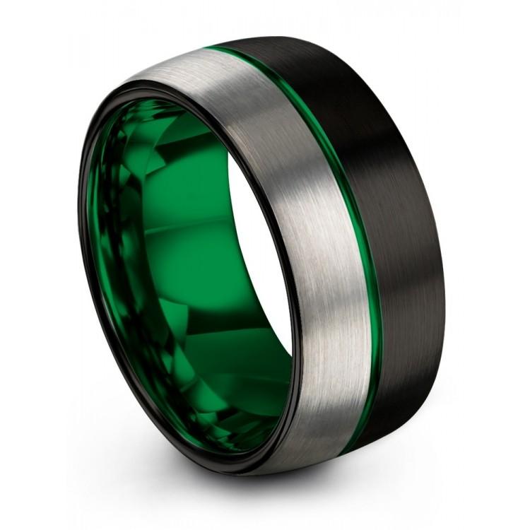 Dark Knight Galena Gray Emerald Zing 10mm Wedding Band