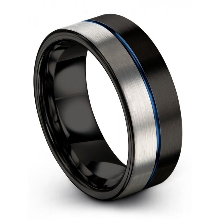 Dark Knight Galena Gray Empire Blue 8mm Black Wedding Ring