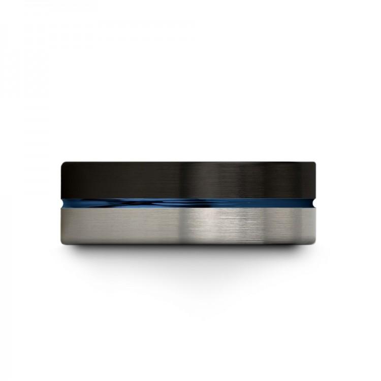 Dark Knight Galena Gray Empire Blue 8mm Wedding Ring