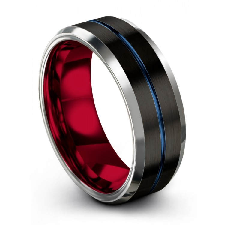 Dark Knight Galena Gray Empire Blue Crimson Allure 8mm Wedding Band