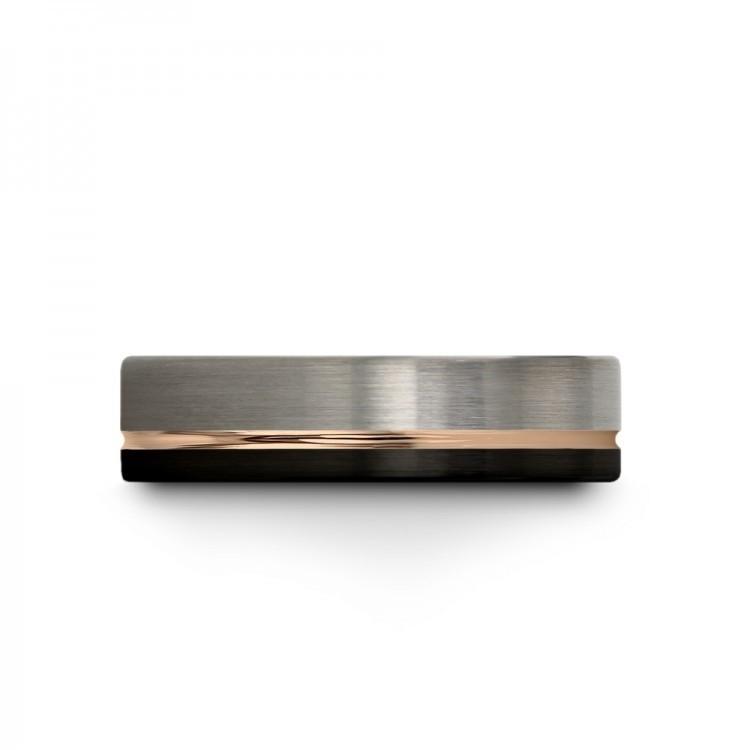 Dark Knight Galena Gray Rose Gold 7mm Unique Wedding Ring