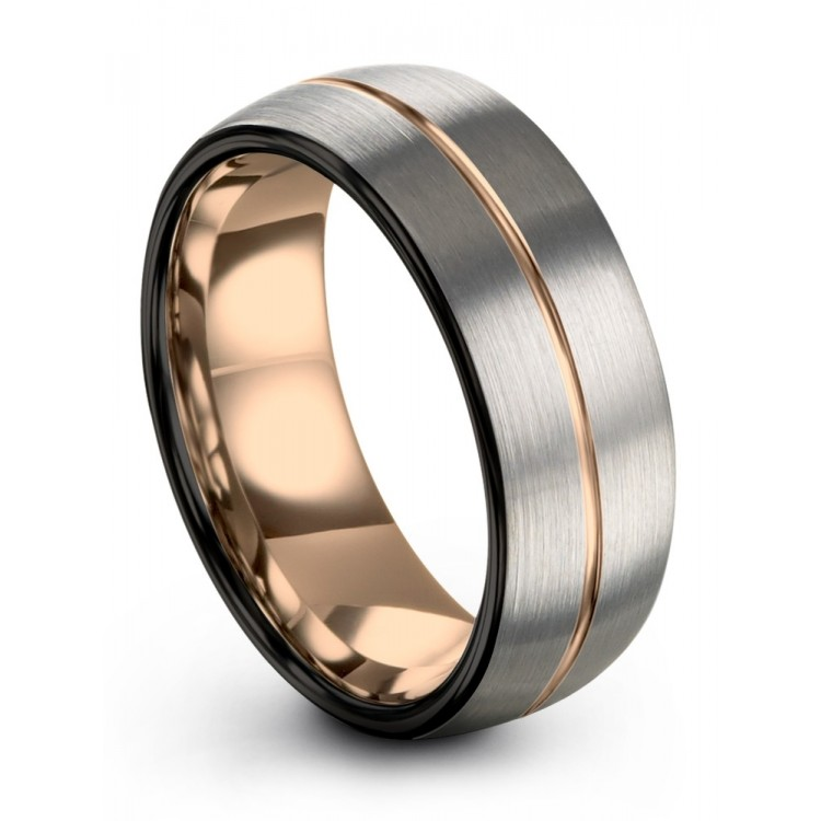 Dark Knight Galena Gray Rose Gold 8mm Couple Wedding Ring