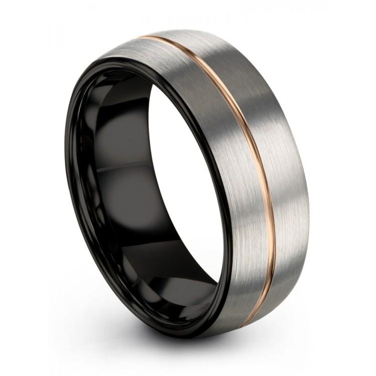 Dark Knight Galena Gray Rose Gold 8mm Fancy Cheap Wedding Ring