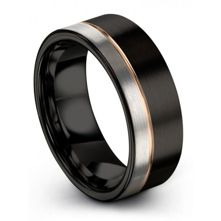 Dark Knight Galena Gray Rose Gold 8mm Unique Wedding Ring