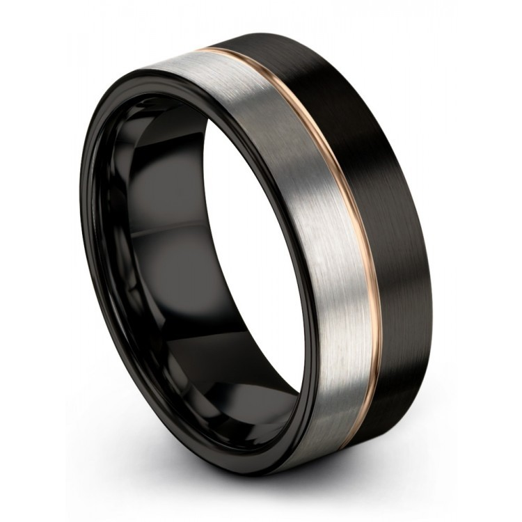 Dark Knight Galena Gray Rose Gold 8mm Wedding Ring