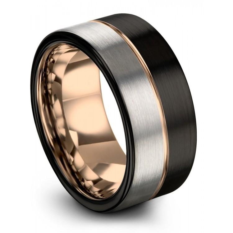 Dark Knight Galena Gray Rose Gold 9mm Unique Wedding Ring