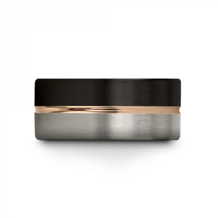 Dark Knight Galena Gray Rose Gold 9mm Wedding Ring