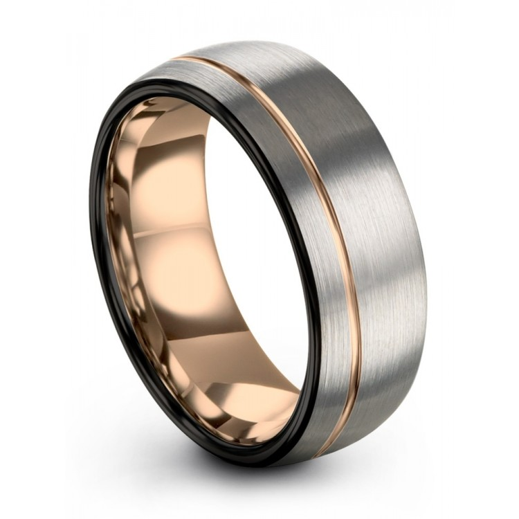 Dark Knight Galena Gray Rose Gold Wedding Ring