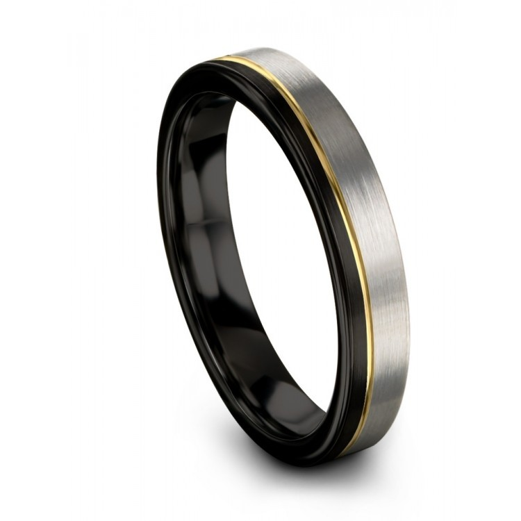 Dark Knight Galena Gray Yellow Gold 4mm Wedding Ring