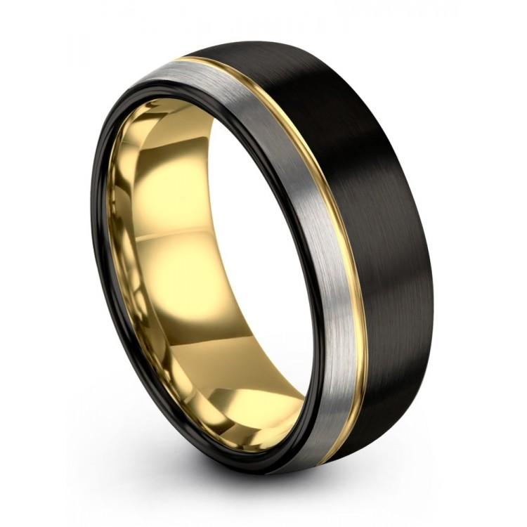 Dark Knight Galena Gray Yellow Gold 8mm Latest Wedding Ring