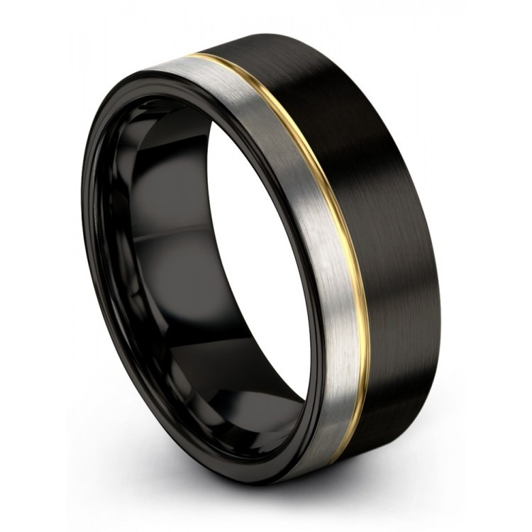 Dark Knight Galena Gray Yellow Gold 8mm Unique Wedding Rings