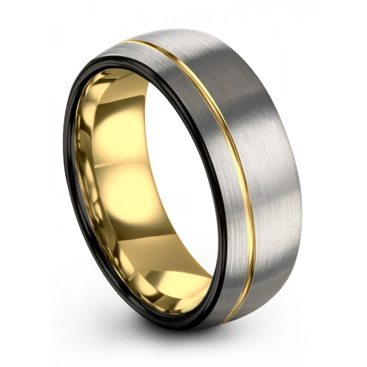 Dark Knight Galena Gray Yellow Gold 8mm Unisex Unique Wedding Ring