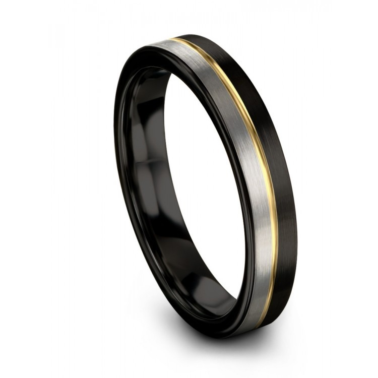 Dark Knight Galena Gray Yellow Gold 8mm Wedding Ring