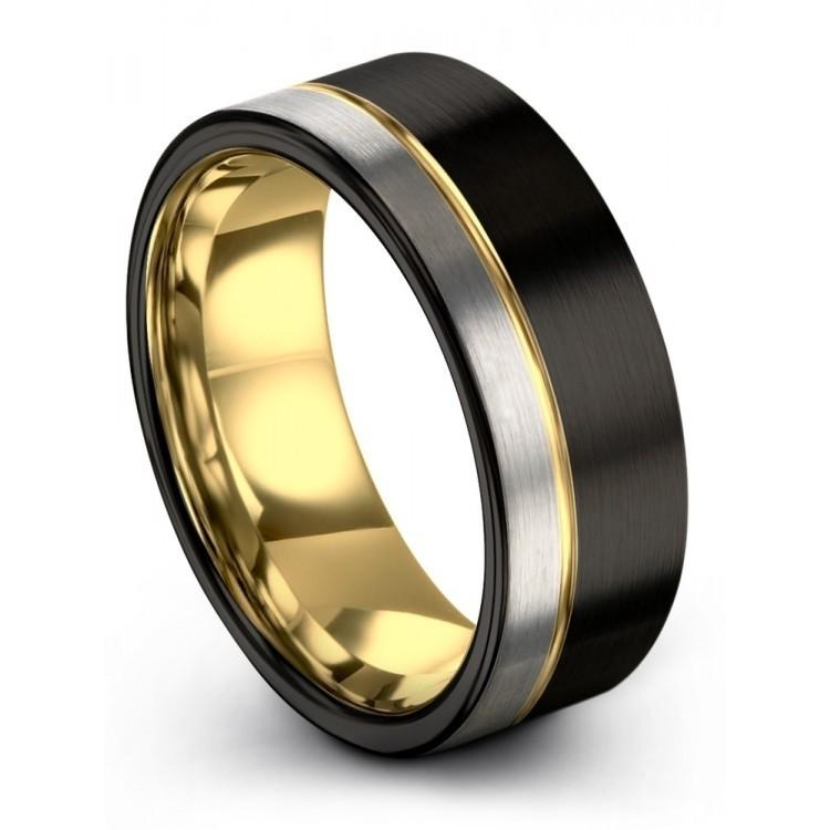 Dark Knight Galena Gray Yellow Gold 9mm Cheap Wedding Ring