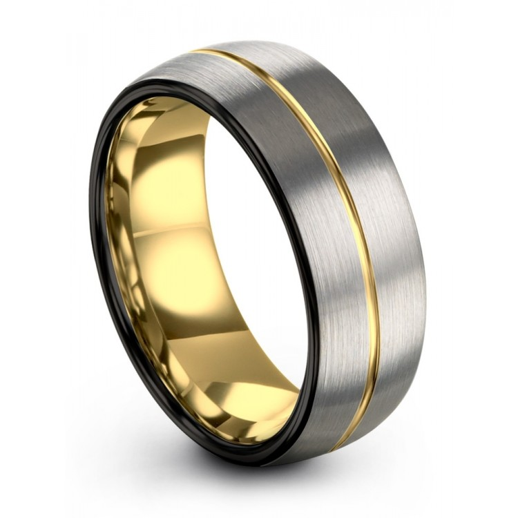 Dark Knight Galena Gray Yellow Gold 8mm Wedding Rings