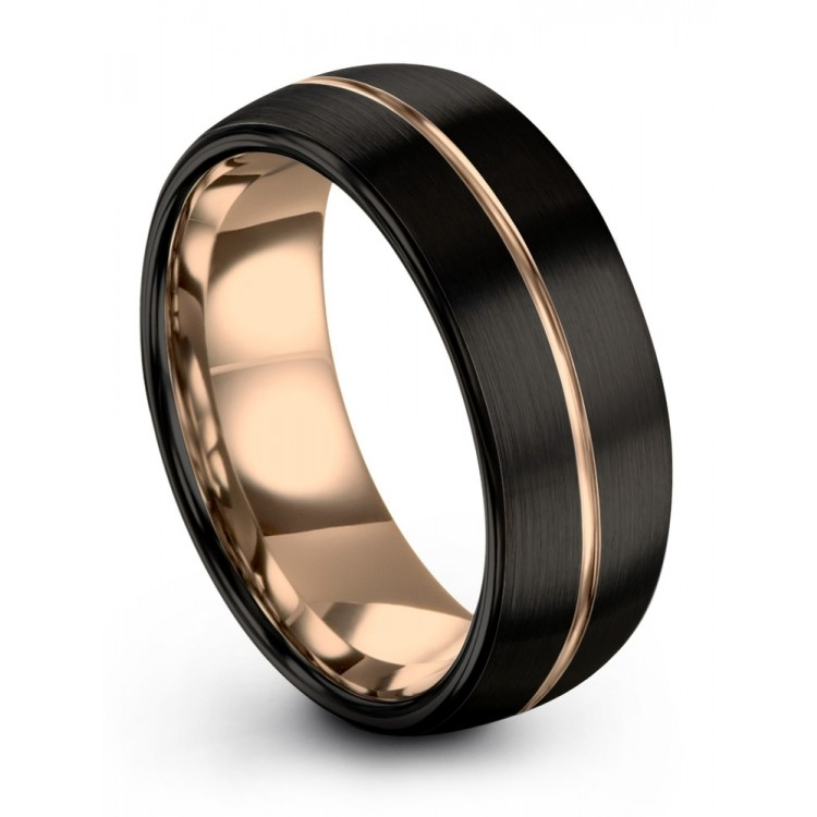 Dark Knight Rose Gold 8mm Latest Couple Wedding Ring