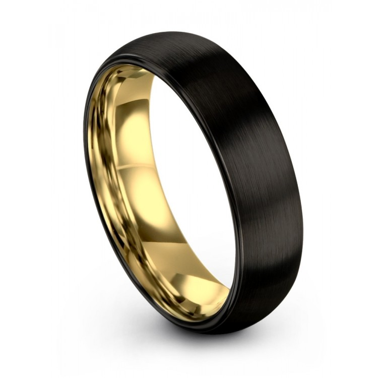 Dark Knight Yellow Gold 6mm Couple Wedding Band