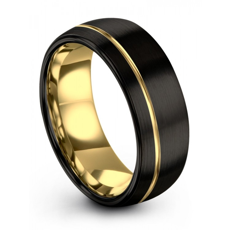Dark Knight Yellow Gold 8mm Latest Mens Wedding Band