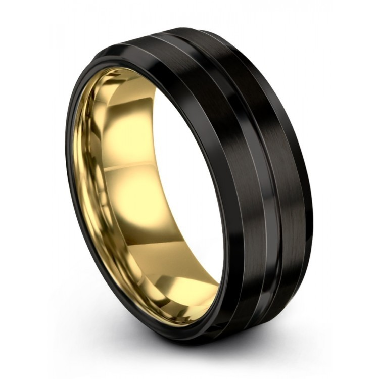Dark Knight Yellow Gold 8mm Unique Wedding Ring