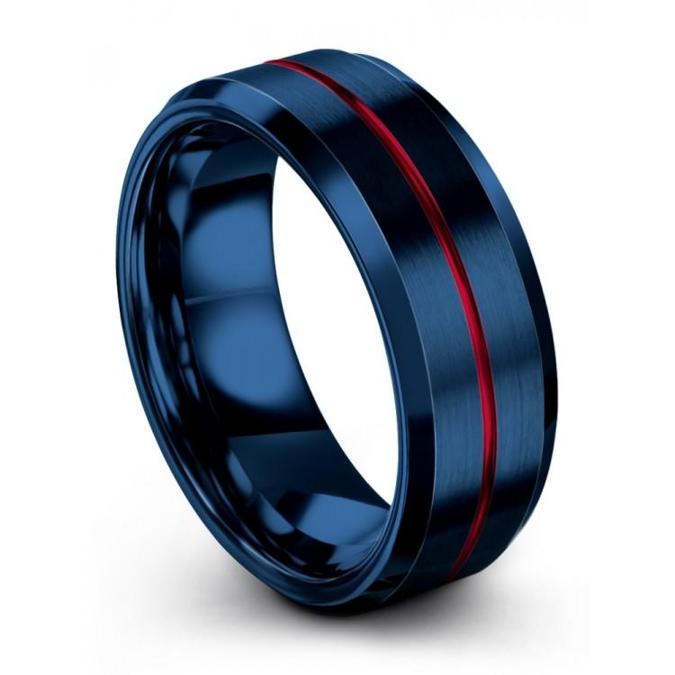 Empire Blue 8mm Fancy Mens Wedding Bands