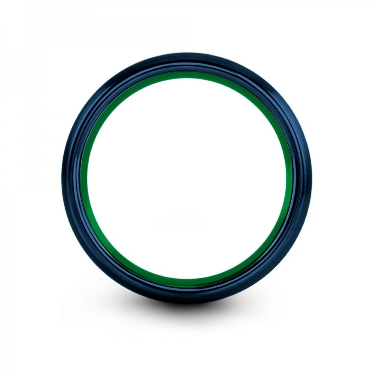 Empire Blue Emerald Zing 8mm Unique Wedding Ring