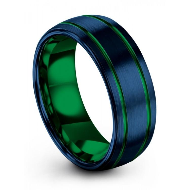 Empire Blue Emerald Zing 8mm Wedding Ring