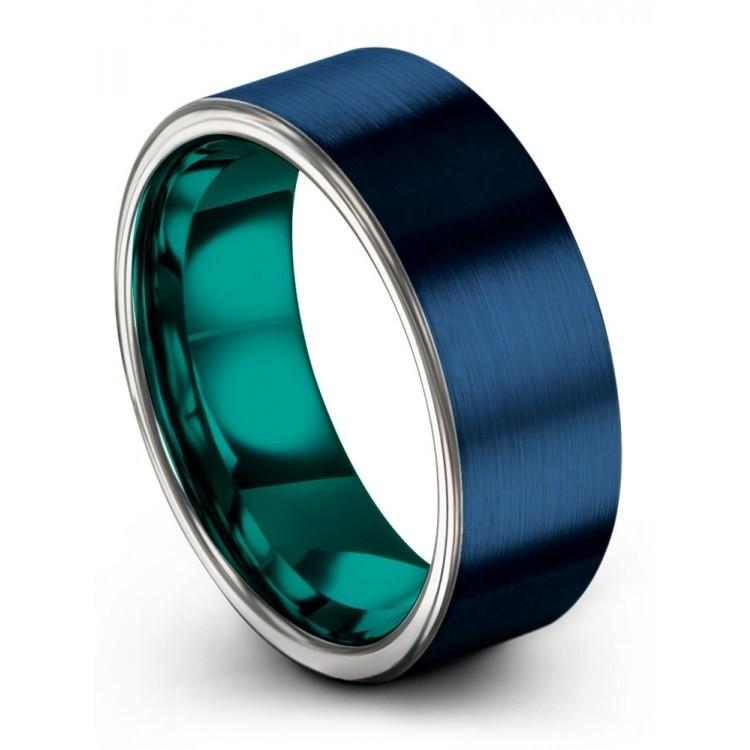Empire Blue Galena Gray Aqua Teal 8mm Wedding Ring