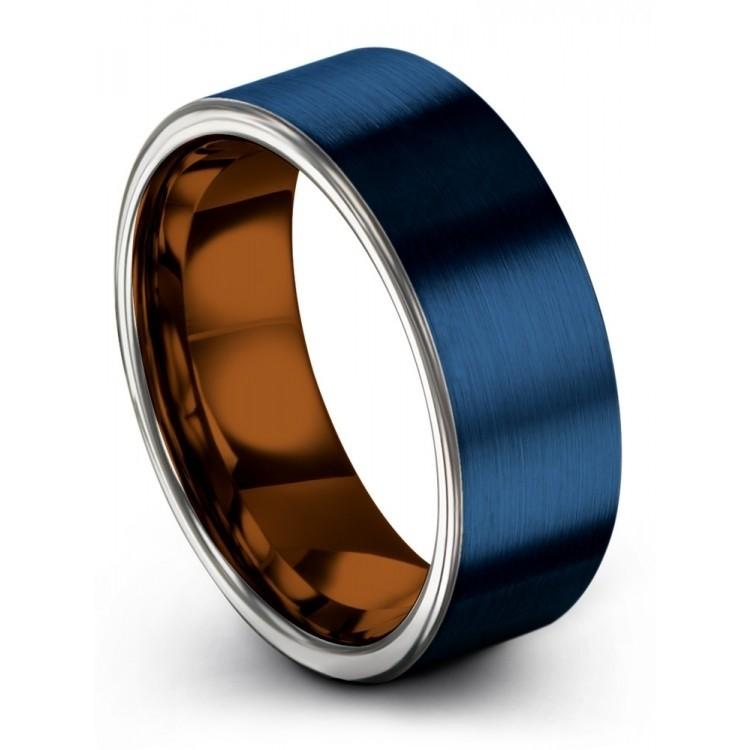 Empire Blue Galena Gray Copper Sun 8mm Wedding Ring