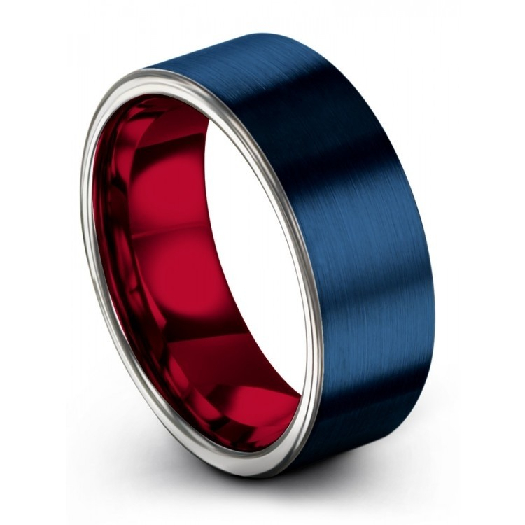 Empire Blue Galena Gray Crimson Allure 8mm Wedding Ring