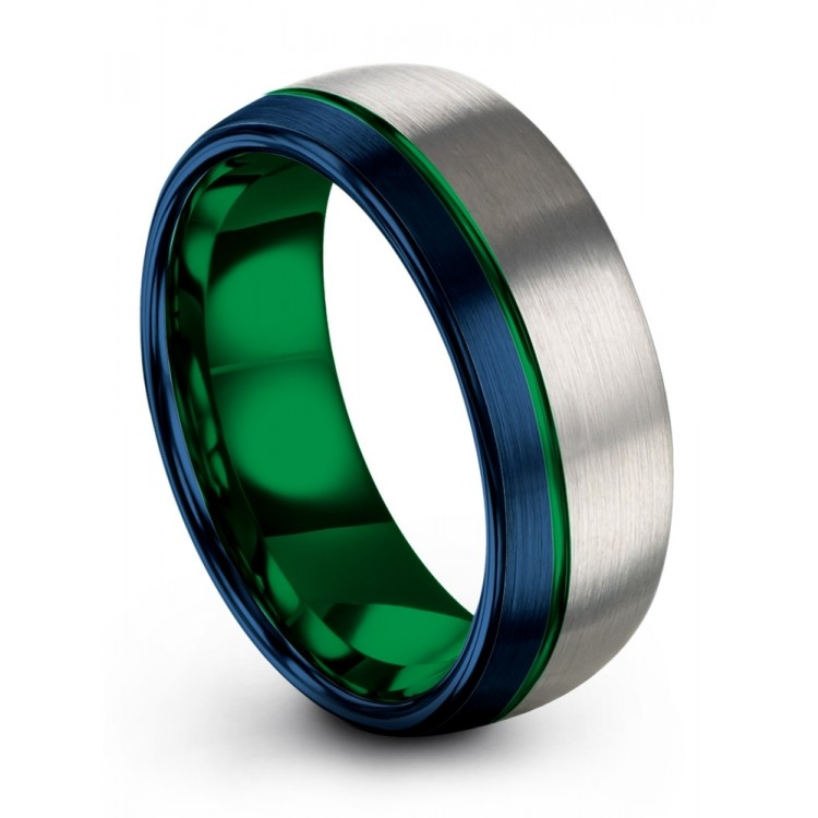 Empire Blue Galena Gray Emerald Zing 8mm Wedding Band