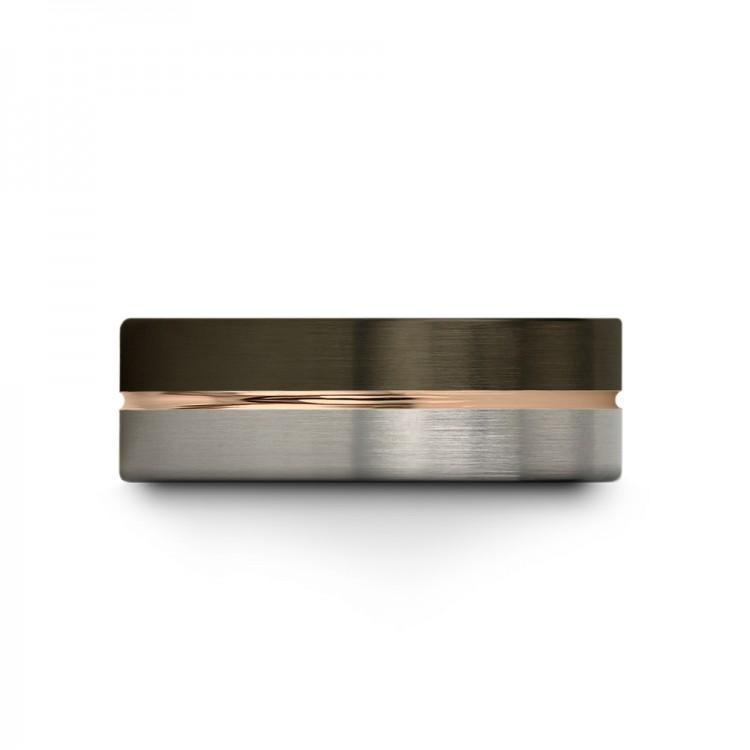 Moonlit Graphite Galena Gray Rose Gold 8mm